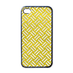 Woven2 White Marble & Yellow Leather Apple Iphone 4 Case (black) by trendistuff
