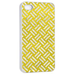 Woven2 White Marble & Yellow Leather Apple Iphone 4/4s Seamless Case (white) by trendistuff