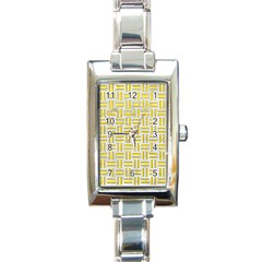 Woven1 White Marble & Yellow Leather (r) Rectangle Italian Charm Watch