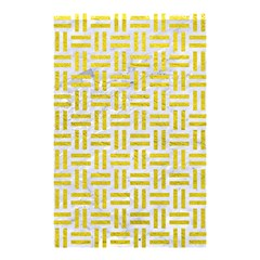 Woven1 White Marble & Yellow Leather (r) Shower Curtain 48  X 72  (small)  by trendistuff
