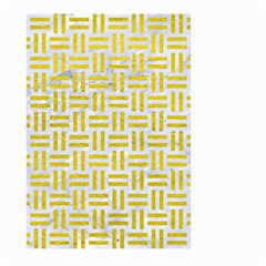 Woven1 White Marble & Yellow Leather (r) Large Garden Flag (two Sides) by trendistuff