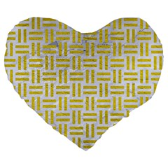 Woven1 White Marble & Yellow Leather (r) Large 19  Premium Heart Shape Cushions by trendistuff