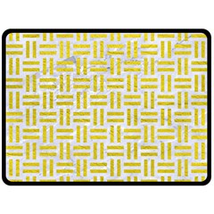 Woven1 White Marble & Yellow Leather (r) Double Sided Fleece Blanket (large)