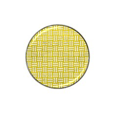 Woven1 White Marble & Yellow Leather Hat Clip Ball Marker (4 Pack) by trendistuff