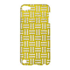 Woven1 White Marble & Yellow Leather Apple Ipod Touch 5 Hardshell Case by trendistuff