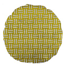 Woven1 White Marble & Yellow Leather Large 18  Premium Flano Round Cushions by trendistuff