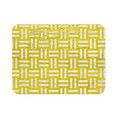 Woven1 White Marble & Yellow Leather Double Sided Flano Blanket (mini)  by trendistuff