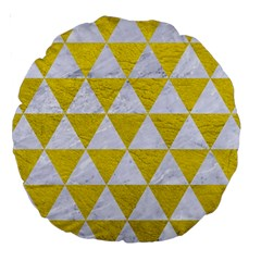Triangle3 White Marble & Yellow Leather Large 18  Premium Round Cushions by trendistuff