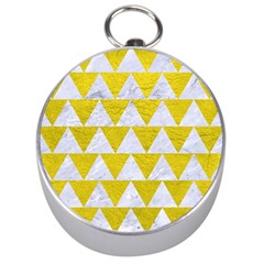 Triangle2 White Marble & Yellow Leather Silver Compasses by trendistuff