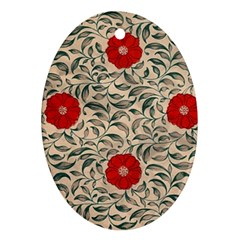Japanese Floral Red Oval Ornament (two Sides) by snowwhitegirl