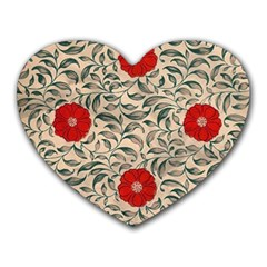 Japanese Floral Red Heart Mousepads by snowwhitegirl