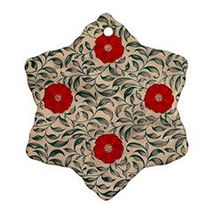 Japanese Floral Red Ornament (snowflake) by snowwhitegirl