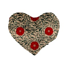 Japanese Floral Red Standard 16  Premium Heart Shape Cushions by snowwhitegirl