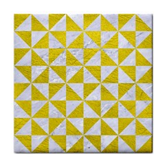 Triangle1 White Marble & Yellow Leather Face Towel by trendistuff