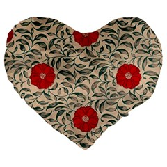 Japanese Floral Red Large 19  Premium Flano Heart Shape Cushions by snowwhitegirl