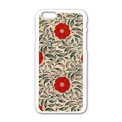 Japanese Floral Red Apple Iphone 6/6s White Enamel Case by snowwhitegirl