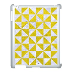 Triangle1 White Marble & Yellow Leather Apple Ipad 3/4 Case (white) by trendistuff