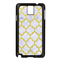 Tile1 White Marble & Yellow Leather (r) Samsung Galaxy Note 3 N9005 Case (black) by trendistuff
