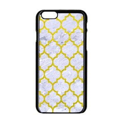 Tile1 White Marble & Yellow Leather (r) Apple Iphone 6/6s Black Enamel Case