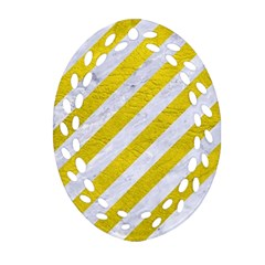 Stripes3 White Marble & Yellow Leather (r)stripes3 White Marble & Yellow Leather (r) Oval Filigree Ornament (two Sides) by trendistuff