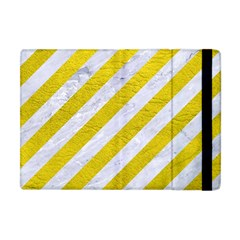 Stripes3 White Marble & Yellow Leather (r)stripes3 White Marble & Yellow Leather (r) Apple Ipad Mini Flip Case by trendistuff