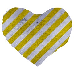Stripes3 White Marble & Yellow Leather (r)stripes3 White Marble & Yellow Leather (r) Large 19  Premium Heart Shape Cushions by trendistuff