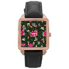Pink Japan Floral Rose Gold Leather Watch  by snowwhitegirl