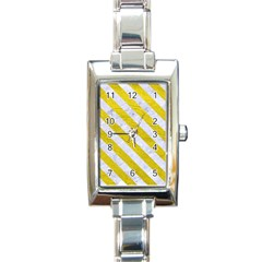 Stripes3 White Marble & Yellow Leather Rectangle Italian Charm Watch