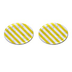 Stripes3 White Marble & Yellow Leather Cufflinks (oval) by trendistuff