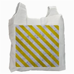 Stripes3 White Marble & Yellow Leather Recycle Bag (one Side) by trendistuff