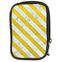 Stripes3 White Marble & Yellow Leather Compact Camera Cases by trendistuff