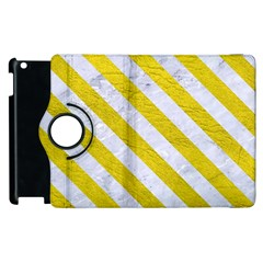 Stripes3 White Marble & Yellow Leather Apple Ipad 2 Flip 360 Case by trendistuff