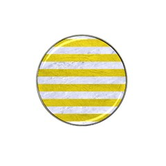 Stripes2white Marble & Yellow Leather Hat Clip Ball Marker by trendistuff
