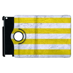 Stripes2white Marble & Yellow Leather Apple Ipad 2 Flip 360 Case by trendistuff
