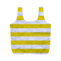 Stripes2white Marble & Yellow Leather Full Print Recycle Bags (m)  by trendistuff