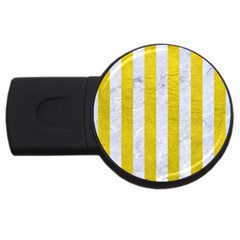 Stripes1 White Marble & Yellow Leather Usb Flash Drive Round (4 Gb) by trendistuff