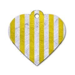 Stripes1 White Marble & Yellow Leather Dog Tag Heart (one Side) by trendistuff