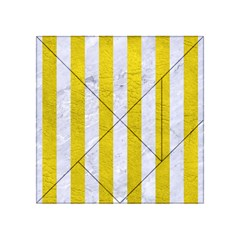Stripes1 White Marble & Yellow Leather Acrylic Tangram Puzzle (4  X 4 ) by trendistuff
