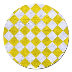 Square2 White Marble & Yellow Leather Magnet 5  (round) by trendistuff