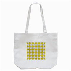 Square2 White Marble & Yellow Leather Tote Bag (white) by trendistuff