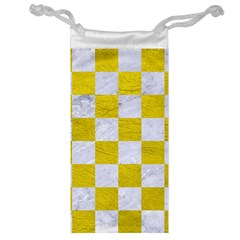 Square1 White Marble & Yellow Leather Jewelry Bag by trendistuff