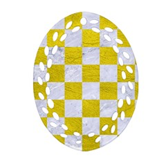 Square1 White Marble & Yellow Leather Oval Filigree Ornament (two Sides) by trendistuff