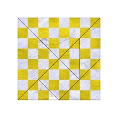 Square1 White Marble & Yellow Leather Acrylic Tangram Puzzle (4  X 4 ) by trendistuff