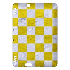 Square1 White Marble & Yellow Leather Kindle Fire Hdx Hardshell Case by trendistuff
