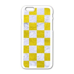Square1 White Marble & Yellow Leather Apple Iphone 6/6s White Enamel Case by trendistuff