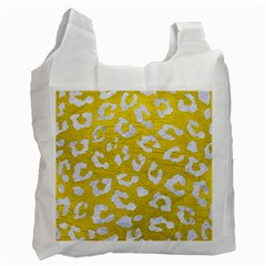 Skin5 White Marble & Yellow Leather (r) Recycle Bag (one Side) by trendistuff