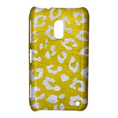 Skin5 White Marble & Yellow Leather (r) Nokia Lumia 620 by trendistuff