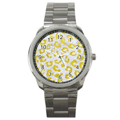 Skin5 White Marble & Yellow Leather Sport Metal Watch by trendistuff