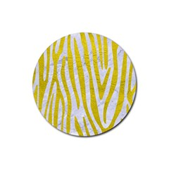 Skin4 White Marble & Yellow Leatherskin4 White Marble & Yellow Leather Rubber Coaster (round)  by trendistuff