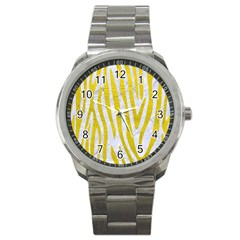 Skin4 White Marble & Yellow Leatherskin4 White Marble & Yellow Leather Sport Metal Watch by trendistuff